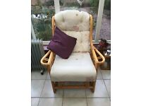 Cane conservatory furniture and table in good condition