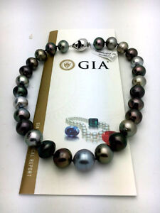 GIA Large Tahitian Black Pearl Necklace Strand. 17.7mm. 12K appr