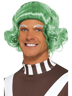 Adult Green Candy Creator Wig Outfit Fancy Dress Ooompa Loompa Umpa Lumpa Mens (Umpa Lumpa Kostüm)