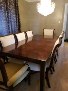 Dining Table Set with Buffet and Wall Mirror