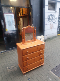 Pinewood chest of drawers with mirror £75