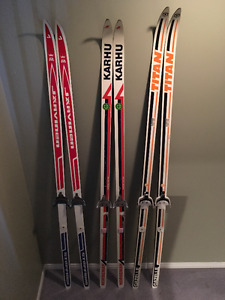 2 Sets Vintage Cross Country Skis - All Made in Canada