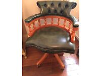 Lexerton Captains Chair in green leather, fantastic condition