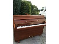 Small modern upright piano by Spencer light walnut |Belfast Pianos