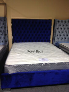 Luxury King or Queen Size Tufted Bed with Crystals