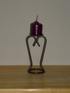 Candle Holder heavy gauge iron : like NEW: As shown,Clean