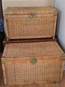 2 Antique Bamboo wood Trunks: