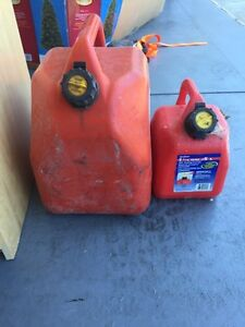 Two gas cans one large 53 gallon one small 1-1/4 gallon.