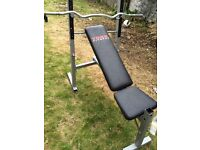 Weights bench with curl bar and dumbbell bar