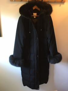 Anne Klein Long Down Coat with Genuine Fox Trim