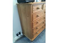 Set of Steve padgett solid pine drawers & matching bedsides
