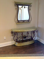 NEW PRICE! Unique console table and matching mirror set