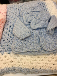 Crochet baby Uggs and  Baby Blanket and Amazing Baby Gift Basket