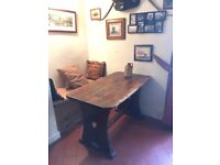 Traditional pub style wooden tables