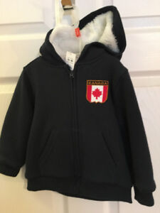 New, Cute, Navy, Berber-lined Infant,  Hoodie With Canadian Flag