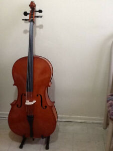 Cello 4/4 -New Hard case, New Soft case, 2 New Bows, Stand