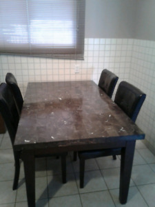 Marble kitchen table with 4 chairs $400 OBO