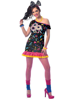 Ladies 80s Girl Costume Adults Retro 1980s Fancy Dress Womens Disco Diva Outfit - 80s Outfit Women