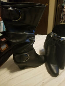 Women's High Black Boots w/Buckles. Never worn.