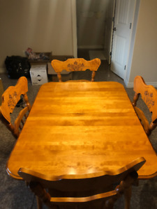Wood table and chairs - dining set