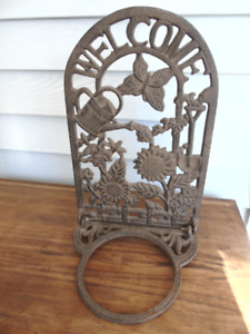 WROUGHT IRON-WELCOME,HANGING FLOWER POT