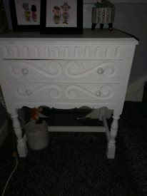 Vintage Retro 2 Drawer Chest Console Side Table Hall Table Bedside