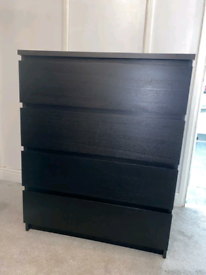 Black Ikea Malm Drawers