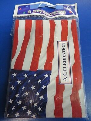 Flying Colors American Flag USA Patriotic July 4th Party Invitations w/Envelopes