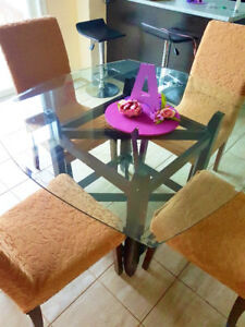 Glass Dining Table Set for 4