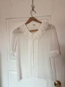 Women's white button-up blouse