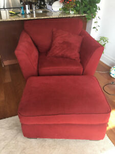 Red Chair + Ottoman