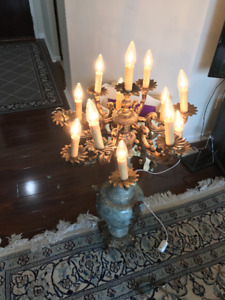 A Beautiful French Marble base lamp with 13 bulbs.