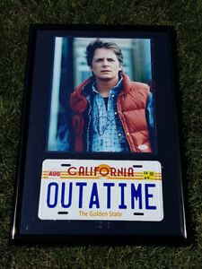 Authentic signed Michael J Fox photo, license plate, JSA