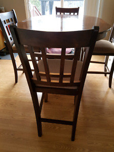 High dining room table and 6 chairs