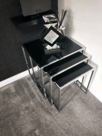Black Glass and chrome nest of tables