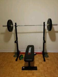 Squat Rack, Olympic Bar & Bumper Plates