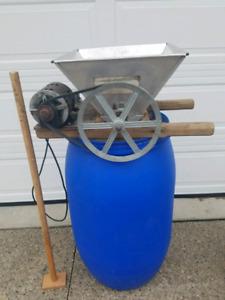 Wine making equipment, demijohns, carboy, fruit grinder