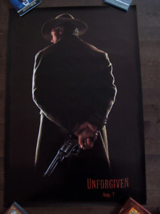 """UNFORGIVEN original 27"""" by 40"""" movie poster *dated style*"""