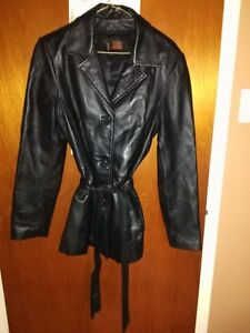Black leather Jacket with winter shell & leather pants for sale
