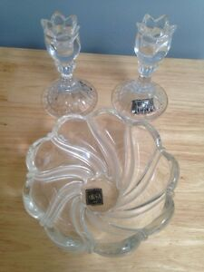 Mikasa Candle Holders and Glass Bowl