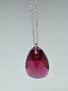 Sterling Silver Necklace with Swarovski Crystal Pendant - Ruby