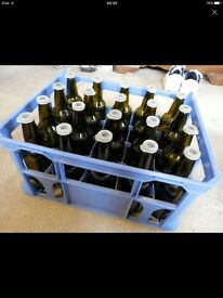 Milk Crates and Bottles for Home Brew