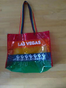Multicoloured striped Las Vegas Beach bag handbag purse EUC