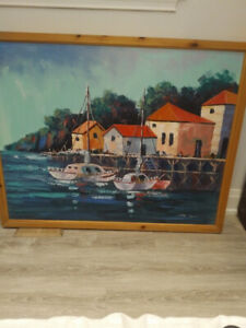 Magnificent Boats on Water Original Oil Painting by Star Lynd