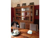John Lewis sheesham wood cabinet and table with 8 chairs