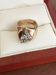 Ladies diamond engagement and wedding ring