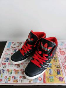 Adidas hightop sneakers black and red mens 10
