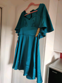 Never worn teal satin dress