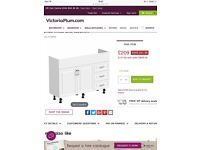 White gloss substantial bathroom cabinet or vanity & back to wall toilet unit / cabinet