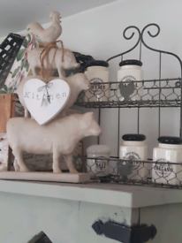 Wooden farm ornament and little wooden kitchen heart